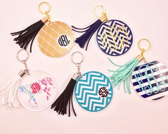 Personalized acrylic keychain with tassel