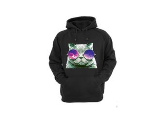 Hoodies for Women and Men Cool Cat with Glasses, Unisex Zoom Cat Galaxy Sunglasses Cotton Pullover Sweatshirt