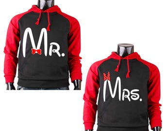 Two Color Hoodies for Couple All Disney Land MR. and MRS. Mickey Mouse Raglan Black-Red Cotton Pullover Hooded Sweatshirt