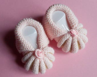 In the Dordogne Pumpkins by hand knitted baby booties - pink and sand