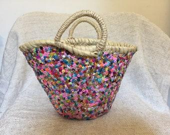 SUN Moroccan hand woven Basket 2 weaving eco friendly meditation organic rope handle beach straw bag large big round tote