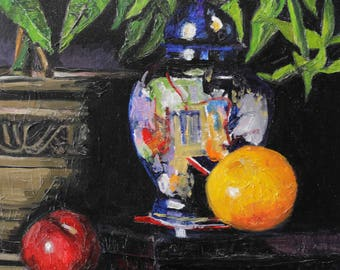 Still Life with orange and a plum