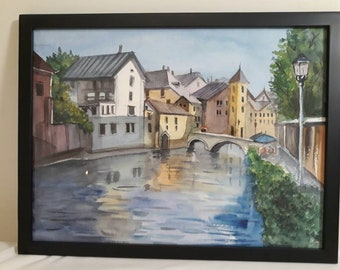 French Town watercolor
