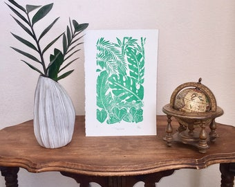 Tropicana- Handmade Block Print, Original Art, Design, Leaves