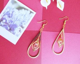 Handmade Earrings | Long Earrings | Teardrop | Crystal | Golden | Chandelier Earrings
