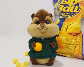 SOLD! Needle Felted Chipmunk Theodore from the wool