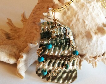 Turquoise on Wire Wrapped Abalone Shell Necklace