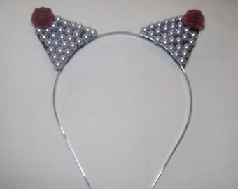 Handmade Pearl Cat Ears With Rose Accent