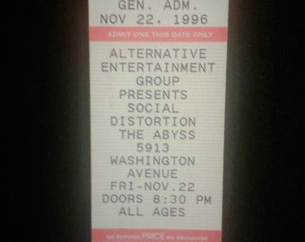 Social Distortion Ticket 1996 TOUR