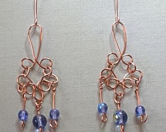 Delicate, lightweight copper and bead wirework  chandelier earrings
