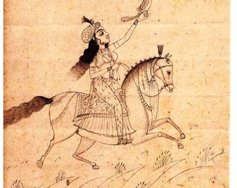 Hand made pencil miniature drawing of Indian Women riding a horse collectible