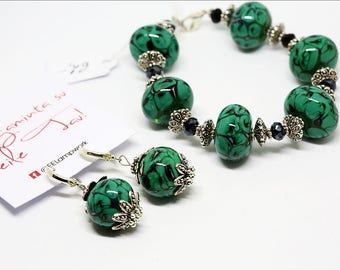 Unique Handcrafted Lampwork Bracelet and Earring Set