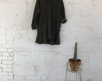 Army Green Corduroy Button Up