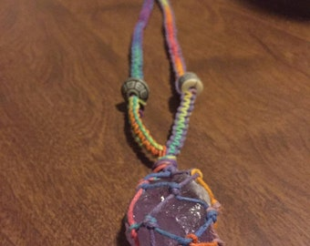 Macrame Wrapped Stone Necklace