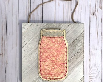 Mason Jar String Art Sign