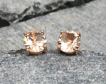 Rose Gold Round 6MM Peach Morganite Stud Earrings, Lab And Natural Morganite Stud Earrings