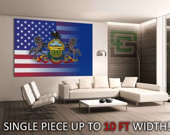 Pennsylvania state and US flag Living Room Decor Canvas Print Gallery Wrapped Canvas Giclee Print Office Wall Decor Home Wall Decor
