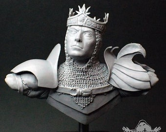 The Usurper. Bust model kit 1/10 by Micromancer Miniatures. Arthurian king knight