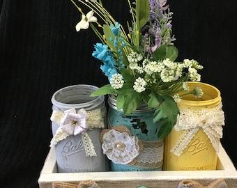 Chalk Painted Mason Jars with Wooden Box