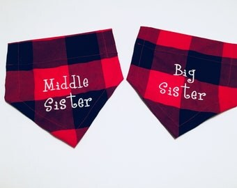 Big sister, Middle Sister, Gender Reveal, Dog Bandana, Buffalo Plaid, Big Sister, Pregnancy announcement, Dog lovers gift, over the collar