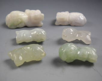 Carved Jade Bead Charms Lot of 6 Two Foo Dogs and Four Koi Fish