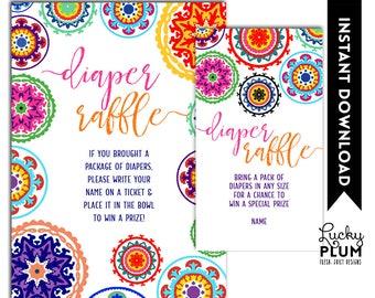 Fiesta Diaper Raffle / Mexican Diaper Raffle / Fiesta Baby Shower Games / Mexican Baby Shower Games / Colorful Folk Art / DIY Printable FT01