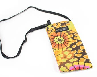 Happy Floral fabric Eyeglass Reader Case -with adjustable neck strap lanyard