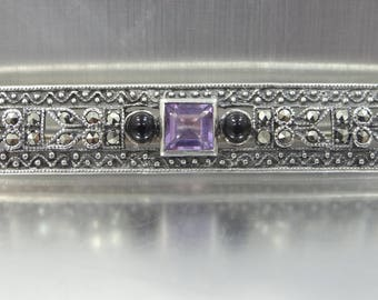 1930's Sterling Silver Amethyst Marcasites and Onyx Bar Pin