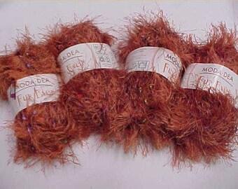4 Skeins Fur Ever Yarn Cinnamon Twist Crochet Same Dye Lot Knit Crochet Retired