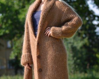 READY handmade mohair robe hand knitted mohair cardigan long shrug ribbed mohair coat Vneck cardigan shawl coat chunky loose robe Dukyana