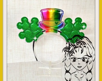 SHaMROCK CLoVER St PaTTY Mousehead (3 Piece) Mr Miss Mouse Ears Headband ~ In the Hoop ~ Downloadable DiGiTaL Machine Emb Design by Carrie