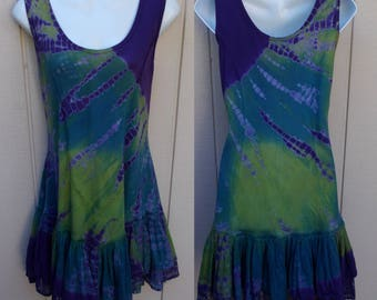 Tie Dye Purple and Green Jumper Dress / Long Tunic -  Boho Gypsy Hippie Romantic Shabby Chic Cowgirl Prairie / sz Med