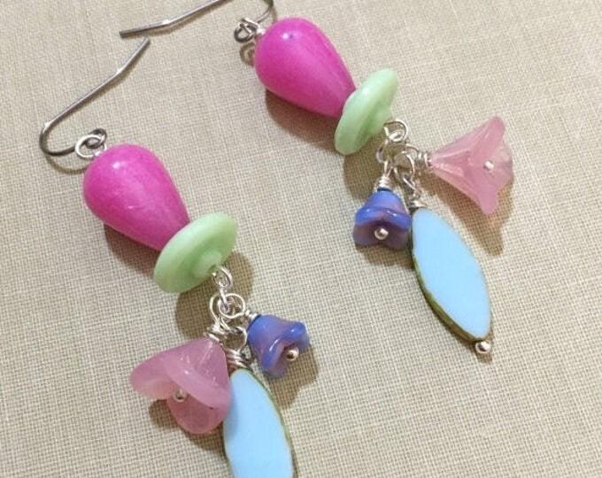 Featured listing image: SALE Flower Cluster Earrings, Czech Glass Earrings, Pastel Earrings, Spring Earrings, Quirky Earrings, Woodland Earrings, KreatedbyKelly
