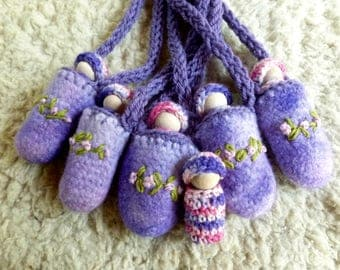 Peg doll necklace doll in pouch ready to ship lilac