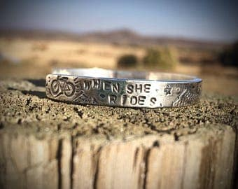 Mini Mountain Bike Cycling Story Cuff - Sterling Silver