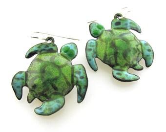Sea Turtle Earrings, whimsical green enameled earrings, pet gift by Kathryn Riechert