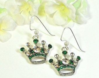 Green Crown Earrings - Princess for a Day - Crown Jewelry - Emerald Green Earrings - Princess Earrings - Gift for Her - Earrings Gift
