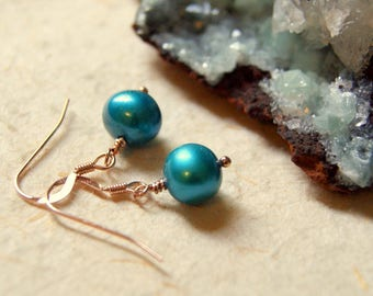 Turquoise Pearl Earrings - Pearl Earrings - Free Gift Wrap