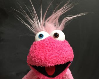 Sock Puppet Monster, Hand and Rod Puppet, Pink Puppet, Wild Pink Hair, Arm Rods, Lots of Personality