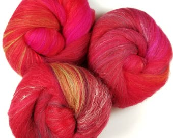 Candied Apple -- classic batts -- (4.4 oz.) organic polwarth wool, bamboo,silk, sparkle.