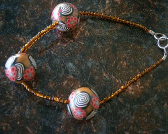 Polymer Clay and Seed Bead Bracelet, OOAK Spirals and Flowers Bracelet,  Willow Glass