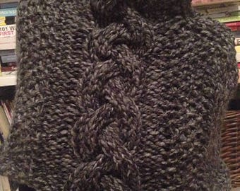 SALE Heather Charcoal Gray Handknit Cable Capelet Wrap Shawl