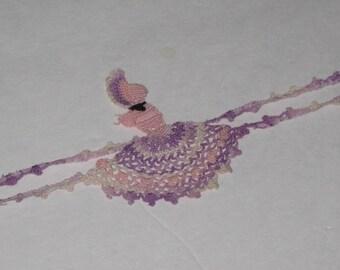 Vintage Sewing Trim -- Hand Crocheted Trim -- Sun Bonnet Girl Trim for Pillow Case, Purple, variegated thread Antique Linens