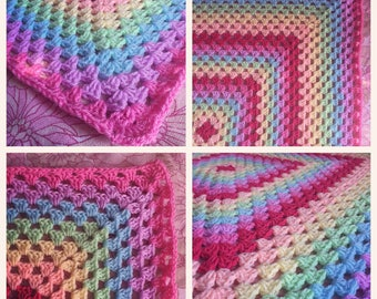 Large pastel rainbow throw