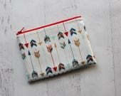 Arrows print zip pouch - womens wallet - essential oils pouch - bohemian print zippered pouch - small southwestern pouch - pouches