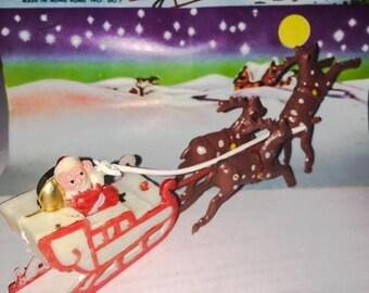 SALE VINTAGE SANTA Sleigh Miniature Plastic Dime Store Christmas Decoration