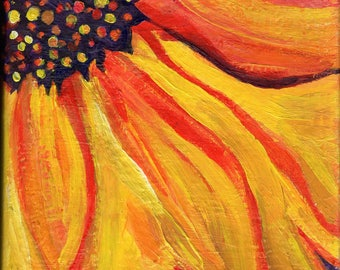 Sunflower original acrylic painting,  small sunflower sectionon Canvas 6 x 6 , sunflower art, sunflower decor,