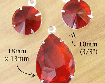Red Glass Pendant and Earring Bead Set - 18x13 Teardrop and 10mm Rounds  - Sheer Red Rhinestones - 18mm x 13mm Pear - Jewelry Supply