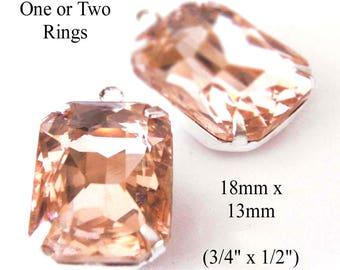 Peach Glass Beads - 18x13mm Octagon - Rhinestone Earrings or Pendants -   18mm x 13mm - Glass Gems - Set Stones - One Pair