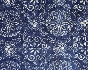 """NEW! """"Totally Totable"""" Weighted Lap Blanket - Adult or Child - Distressed Blue Medallions - Choose your weight and minky color"""